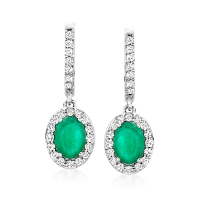 1.50 ct. t.w. Emerald and .50 ct. t.w. Diamond Hoop Drop Earrings in 14kt White Gold