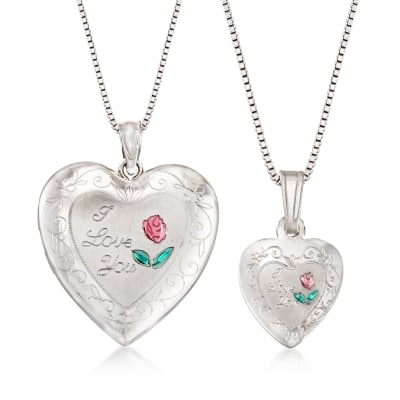 "Sterling Silver Mom & Me Jewelry Set: Two ""I Love You"" Heart Necklaces"