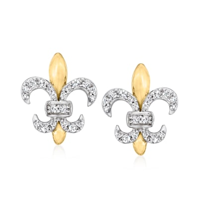 .15 ct. t.w. Diamond Fleur-De-Lis Earrings in Two-Tone Sterling Silver