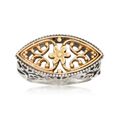 Sterling Silver and 14kt Yellow Gold Floral Filigree Ring