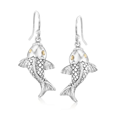 Sterling Silver Bali-Style Koi Fish Drop Earrings with 18kt Yellow Gold