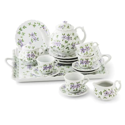 Child's Porcelain Violet Flower 16-pc. Tea Set