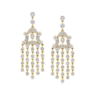 C. 1980 Vintage 1.80 ct. t.w. Diamond Chandelier Earrings in 18kt Yellow Gold