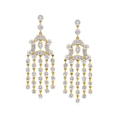C. 1980 Vintage 1.80 ct. t.w. Diamond Chandelier Earrings in 18kt Yellow Gold