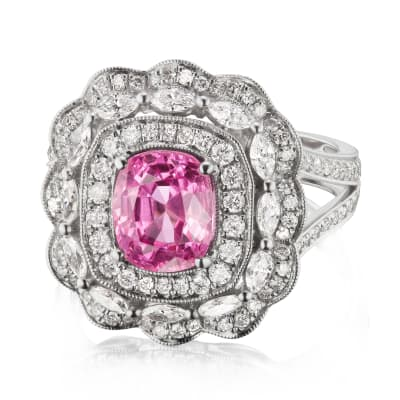 2.25 Carat Pink Spinel and 1.14 ct. t.w. Diamond Ring in 18kt White Gold