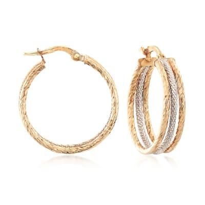 Italian 14kt Two-Tone Gold Triple-Hoop Earrings
