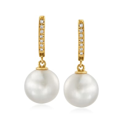 11-12mm Cultured South Sea Pearl and .10 ct. t.w. Diamond Drop Earrings in 14kt Yellow Gold
