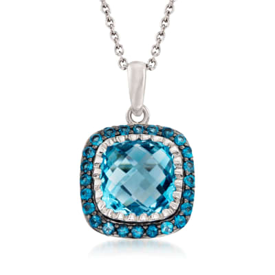 8.90 ct. t.w. Sky and London Blue Topaz Pendant Necklace in Sterling Silver