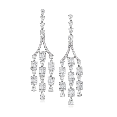 4.54 ct. t.w. Diamond Cluster Chandelier Earrings in 18kt White Gold