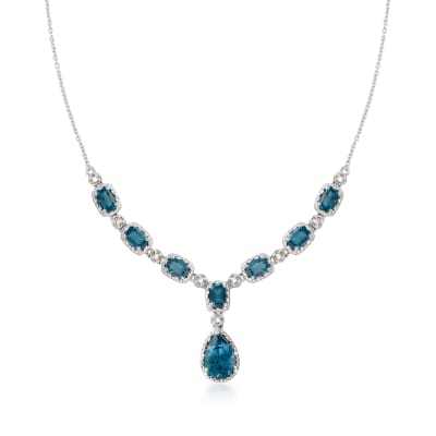 8.95 ct. t.w. London Blue Topaz and .38 ct. t.w. Diamond Necklace in Sterling Silver