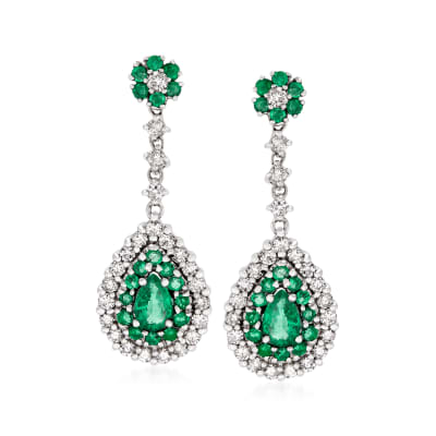 2.00 ct. t.w. Emerald and 1.00 ct. t.w. Diamond Teardrop Earrings in 14kt White Gold