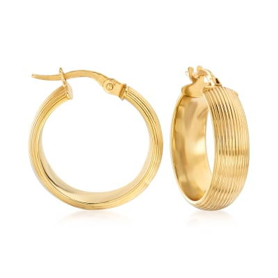 Italian 14kt Yellow Gold Ribbed Hoop Earrings