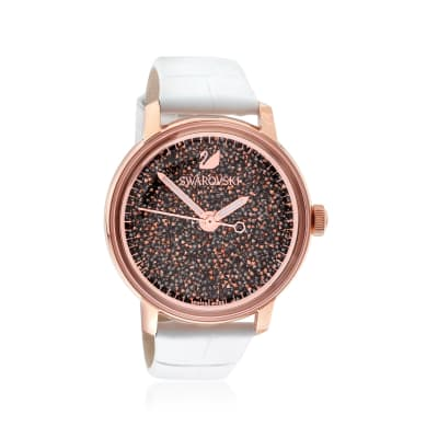 Swarovski Crystal Crystalline Hours Women's Rose Goldtone Stainless Watch with Rose Crystals and White Leather