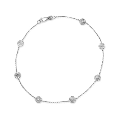 .25 ct. t.w. Pave Diamond Station Anklet in 14kt White Gold