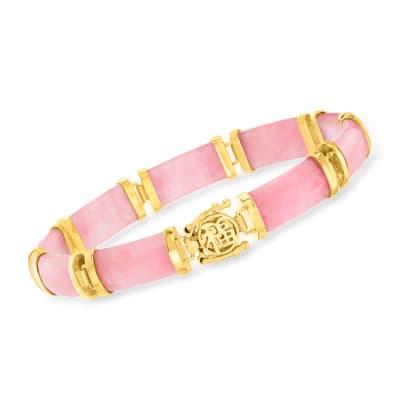 """Pink Jade """"Good Fortune"""" Bracelet in 18kt Gold Over Sterling"""