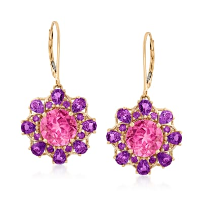 6.75 ct. t.w. Pink Topaz and 2.70 ct. t.w. Amethyst Drop Earrings in 14kt Yellow Gold
