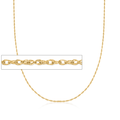 Italian 1mm 14kt Yellow Gold Rope Chain Necklace