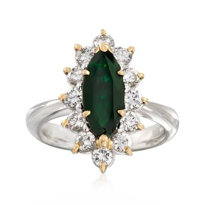 C. 1990 Vintage 13x5.5. Marquis Tourmaline Ring with 1.01 ct. t.w. Diamonds in Platinum