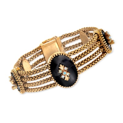 C. 1960 Vintage Black Onyx and White Opal Section Bracelet in 14kt Yellow Gold
