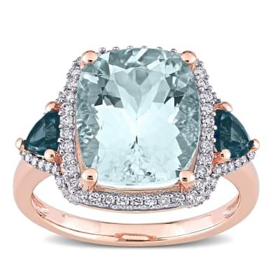 5.00 Carat Aquamarine, .60 ct. t.w. London Blue Topaz and .30 ct. t.w. Diamond Ring in 14kt Rose Gold