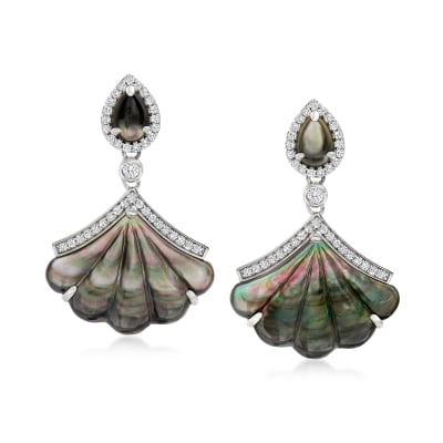 Mother-Of-Pearl and 1.80 ct. t.w. White Zircon Drop Earrings in Sterling Silver