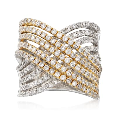 2.31 ct. t.w. Diamond Multi-Row Crisscross Ring in 14kt Two-Tone Gold