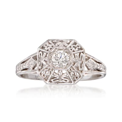C. 2000 Vintage .20 Carat Diamond Filigree Ring in 14kt White Gold