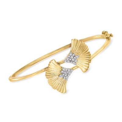 .15 ct. t.w. Diamond Ginko Leaf Bypass Bangle Bracelet in 18kt Gold Over Sterling