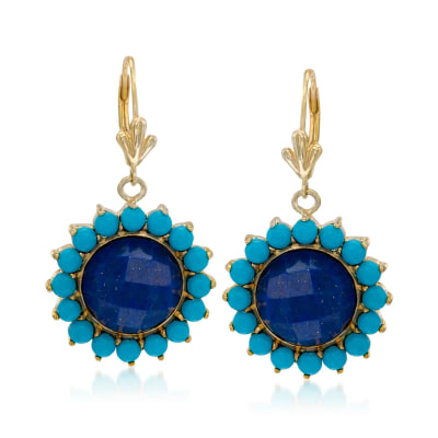 Lapis and Turquoise Drop Earrings in 14kt Gold Over Sterling Silver