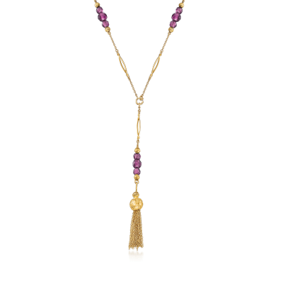 C. 1980 Vintage Purple Glass Bead Tassel Necklace in 14kt Yellow Gold