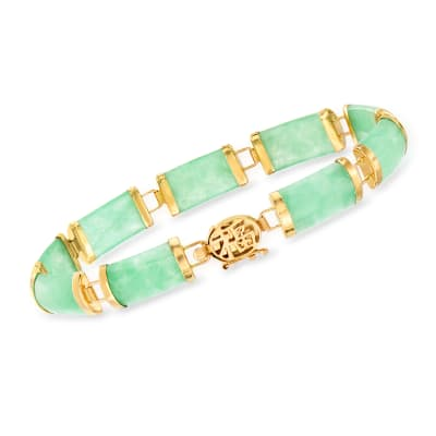 Green Jade Bracelet in 14kt Yellow Gold