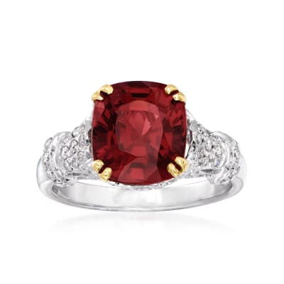 C. 1990 Vintage 4.50 Carat Garnet and .80 ct. t.w. Diamond Ring in 18kt White Gold