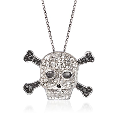 Black and White Diamond-Accented Skull and Crossbones Necklace in Sterling Silver