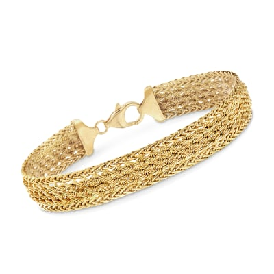 Italian 14kt Yellow Gold Wheat and Rope-Link Bracelet