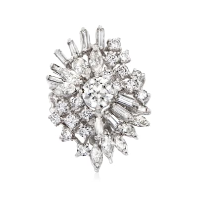 C. 1970 Vintage 4.45 ct. t.w. Diamond Cluster Ring in 14kt White Gold
