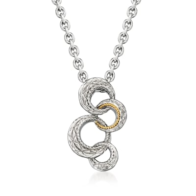 """Andrea Candela """"Bubbles"""" Sterling Silver and 18kt Yellow Gold Open-Circles Necklace"""