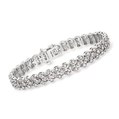 2.00 ct. t.w. Diamond Triple-Row Bracelet in Sterling Silver