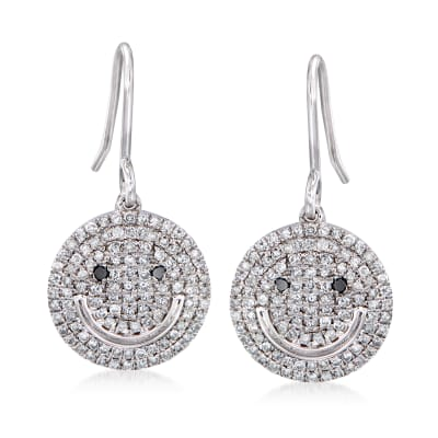 .50 ct. t.w. Diamond Smiley Face Drop Earrings in Sterling Silver