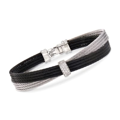 """ALOR """"Noir"""" .16 ct. t.w. Diamond Two-Tone Stainless Steel Bracelet with 18kt White Gold"""