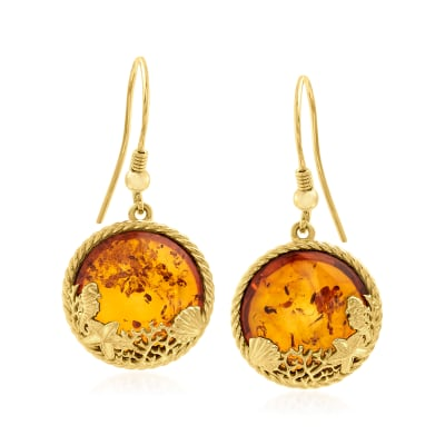 Amber Sea Life Drop Earrings in 18kt Gold Over Sterling