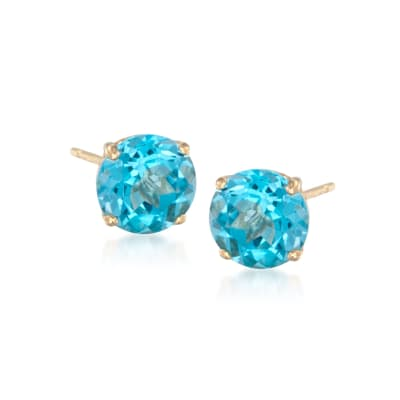 4.70 ct. t.w. Blue Topaz Stud Earrings in 14kt Yellow Gold