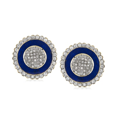 C. 1980 Vintage Lapis and 2.29 ct. t.w. Diamond Shield Clip-On Earrings in 18kt Yellow Gold