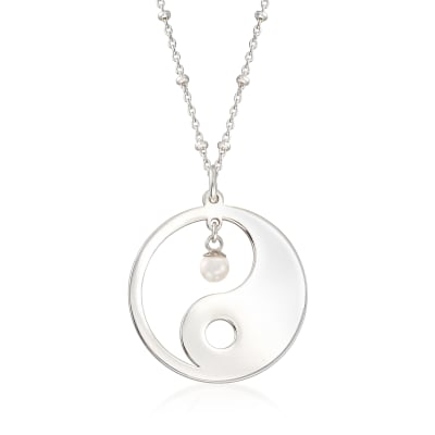 Sterling Silver Yin-Yang Necklace with 4mm Cultured Pearl