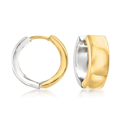 Sterling Silver and 14kt Yellow Gold Reversible Huggie Hoop Earrings