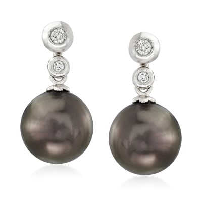 8-8.5mm Cultured Tahitian Pearl and Diamond-Accented Jewelry Set: One Pair of Studs with Earring Jackets in 14kt White Gold