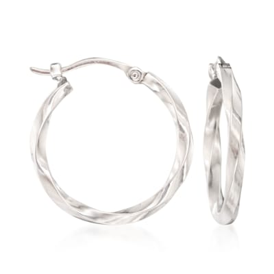 14kt White Gold Twist-Motif Hoop Earrings