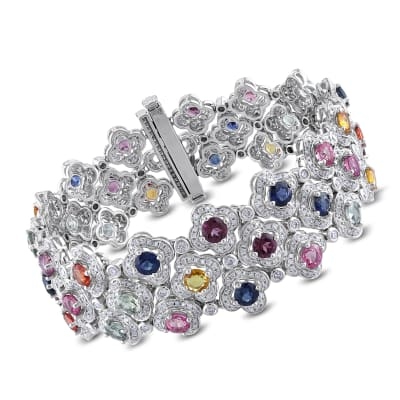 14.20 ct. t.w. Multi-Gemstone and 3.84 ct. t.w. Diamond Bracelet in 14kt White Gold