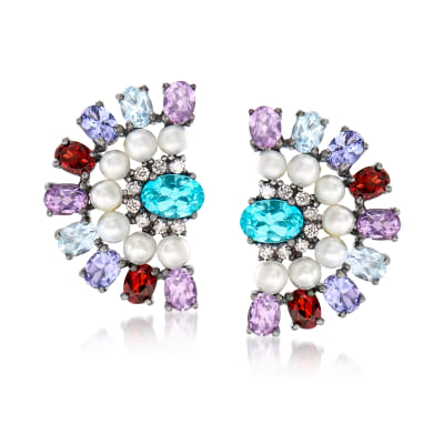 3mm Cultured Pearl and 4.00 ct. t.w. Multi-Gem Earrings in Sterling Silver
