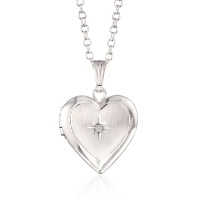 Child's Diamond Accent Heart Locket Necklace in Sterling Silver