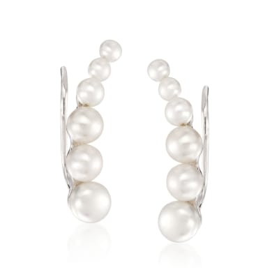 3-6mm Cultured Pearl Ear Crawlers in Sterling Silver